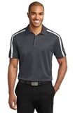 Silk Touch Performance Colorblock Stripe Polo Steel Grey with White Thumbnail