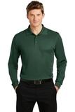 Long Sleeve Micropique Polo Shirt Forest Green Thumbnail