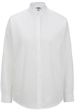 Women's Banded Collar Shirt White Thumbnail