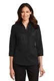 Women's 3/4Sleeve SuperPro Twill Shirt Black Thumbnail
