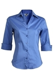 V-neck 3/4 Sleeve Tailored Blouse French Blue Thumbnail