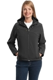 Women's Textured Hooded Soft Shell Jacket Charcoal with Lemon Yellow Thumbnail