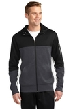 Tech Fleece Colorblock Full-zip Hooded Jacket Black with Graphite Heather and White Thumbnail