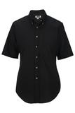 Women's Button Down Poplin Shirt SS Black Thumbnail