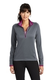 Women's Nike Golf Dri-Fit 1/2-Zip Cover-Up Dark Grey with Sport Fuchsia Thumbnail