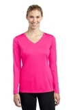 Women's Long Sleeve V-neck Competitor Tee Neon Pink Thumbnail