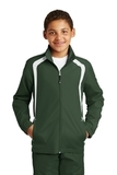 Youth Colorblock Raglan Jacket Forest Green with White Thumbnail