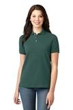 Women's Pique Knit Polo Shirt Dark Green Thumbnail