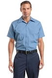 Long Size Short Sleeve Striped Industrial Work Shirt Petrol Blue with Navy Thumbnail