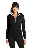 Women's Nike Golf Dri-Fit 1/2-Zip Cover-Up Black with White Thumbnail