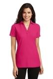 Women's Silk Touch Y-Neck Polo Shirt Pink Raspberry Thumbnail