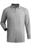Unisex Long Sleeve All Cotton Pique Polo Grey Heather Thumbnail