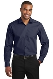 Slim Fit Carefree Poplin Shirt River Blue Navy Thumbnail