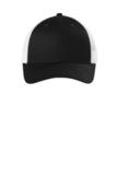Low-Profile Snapback Trucker Cap Black with White Thumbnail