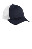 Low-Profile Snapback Trucker Cap Rich Navy with White Thumbnail