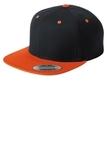Flat Bill Snapback Cap Black with Deep Orange Thumbnail