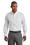 Port Authority Tall Tattersall Easy Care Shirt Blue with Navy Thumbnail