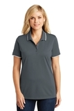 Women's Dry Zone UV MicroMesh Tipped Polo Graphite with White Thumbnail