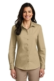 Women's Long Sleeve Carefree Poplin Shirt Wheat Thumbnail