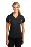 Women's Side Blocked Micropique Polo Shirt Black with Gold Thumbnail