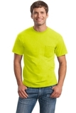 Ultra Cotton 100 Cotton T-shirt With Pocket Safety Green Thumbnail