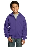 Youth Full-zip Hooded Sweatshirt Purple Thumbnail