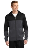 Tech Fleece Colorblock Full-zip Hooded Jacket Black with Graphite Heather and Black Thumbnail