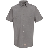 Short Sleeve Industrial Work Shirt With Stripe Khaki Black Check Thumbnail