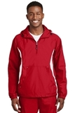 Colorblock Raglan Anorak True Red with White Thumbnail
