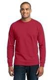 Long Sleeve 50/50 Cotton / Poly T-shirt Red Thumbnail