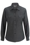 Chambray Roll-up-sleeve Shirt Chambray Black Thumbnail
