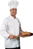 Ten Knot Button Chef Coat White Thumbnail