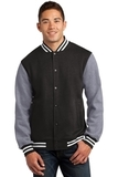 Fleece Letterman Jacket Black with Vintage Heather Thumbnail