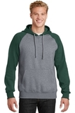 Raglan Colorblock Pullover Hooded Sweatshirt Forest Green with Vintage Heather Thumbnail