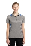 Women's Heather Colorblock Contender Polo Vintage Heather with Carolina Blue Thumbnail