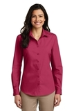 Women's Long Sleeve Carefree Poplin Shirt Pink Azalea Thumbnail
