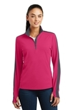 Women's SportWick Textured Colorblock 1/4-Zip Pullover Pink Raspberry with Iron Grey Thumbnail