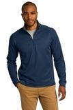 Heavyweight Vertical Texture 1/4-zip Pullover Regatta Blue with Iron Grey Thumbnail