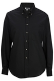 Women's Poplin Shirt LS Black Thumbnail