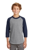 Youth Colorblock Raglan Jersey Heather Grey with Navy Thumbnail