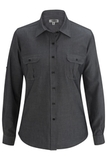 Chambray Roll-up-sleeve Shirt Chambray Black Thumbnail