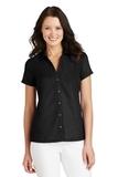 Women's Textured Camp Shirt Black Thumbnail