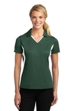 Women's Side Blocked Micropique Polo Shirt Forest Green with White Thumbnail