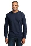 Long Sleeve 50/50 Cotton / Poly T-shirt Navy Thumbnail