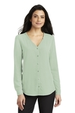 Women's Long Sleeve Button-Front Blouse Misty Sage Thumbnail