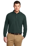 Silk Touch Long Sleeve Polo Shirt Dark Green Thumbnail