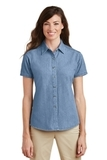Women's Short Sleeve Value Denim Shirt Faded Blue Thumbnail