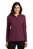 Women's Silk Touch Long Sleeve Polo Shirt Burgundy Thumbnail
