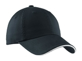 Sandwich Bill Cap With Striped Closure Charcoal Blue with White Thumbnail