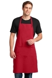 Easy Care Extra Long Bib Apron With Stain Release Red Thumbnail